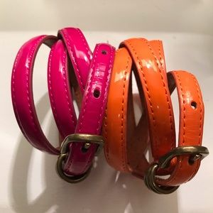 J. Crew leather belts Pink and Orange 2 items! SzM